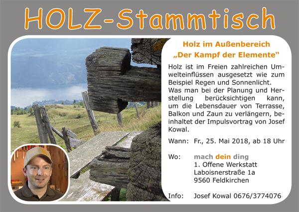 2. HOLZ-Stammtisch mit Referent Josef Kowal